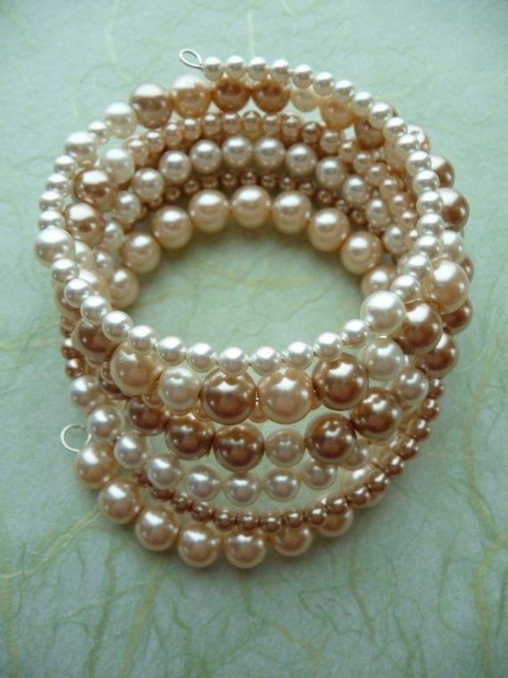 Pearl Memory Wire Bracelet by Muriel Hopson