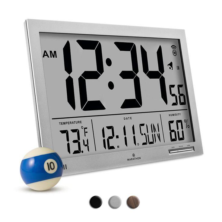 Marathon CL030062GG Slim-Jumbo Atomic Digital Wall Clock with Temperature, Date and Humidity (Graphite Grey)