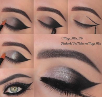 Cat Eye Makeup Tutorial: http://karasglamourblog.blogspot.com/2014/01/cat-eye-makeup-tutorial.html