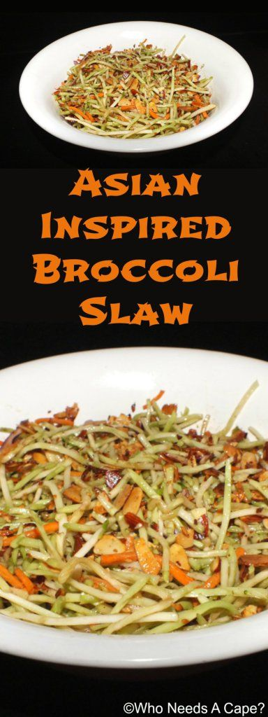Asian Inspired Broccoli Slaw | Who Needs A Cape?