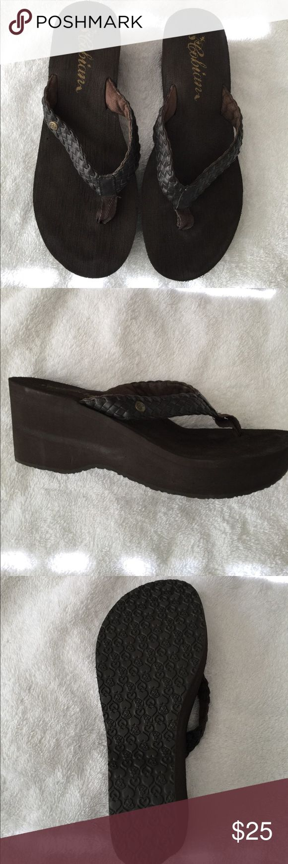 Cobian sandals 3 inch heel. Synthetic Leather straps with nylon in between toes. EUC Cobian Shoes Sandals