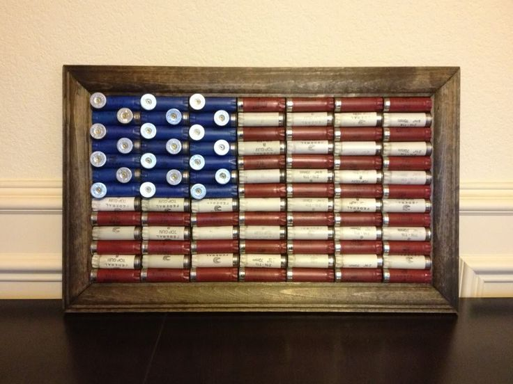 Love this idea! for husband's office. American flag made of shotgun shells