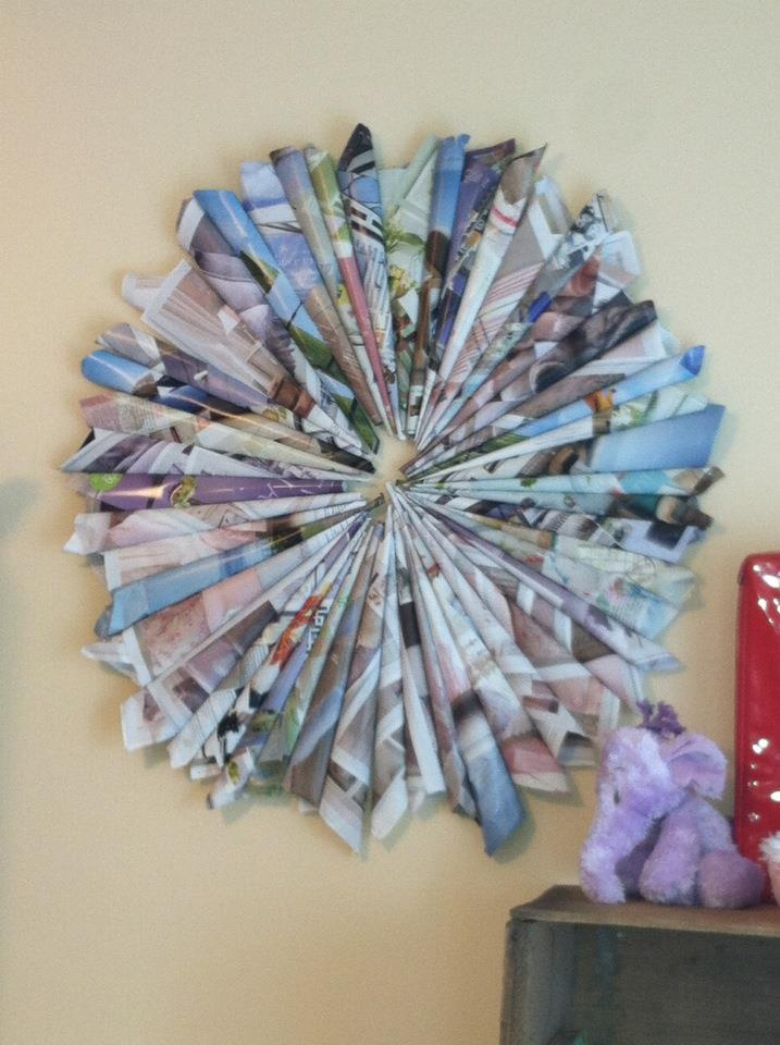 Made with magazine pages. I suspect I will see something like this during my next visit to the Doucet home.