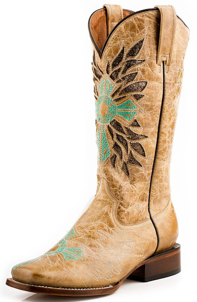 Roper Womens Turquoise Cross Square Toe Cowboy Boots $219.00