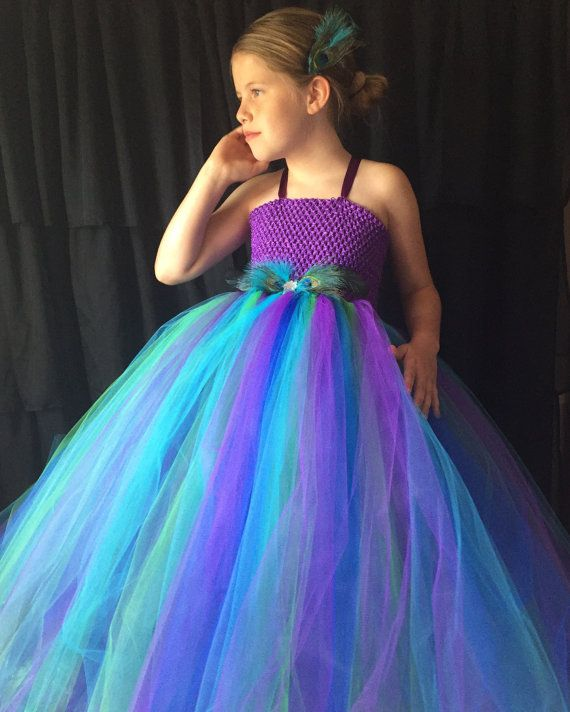 Peacock flower girl dress turquoise and purple tutu by TheTwirl