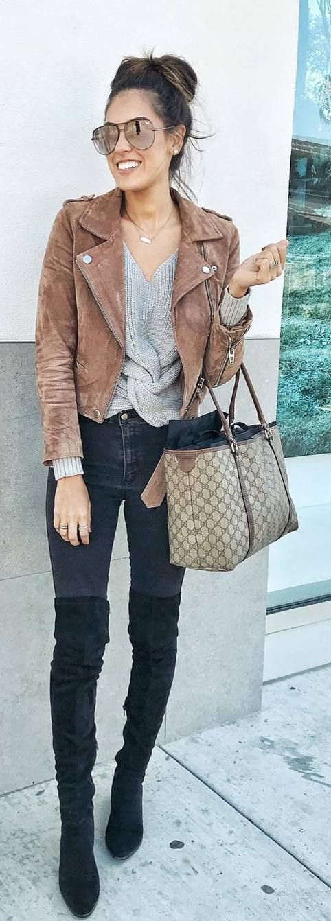 #fall #outfits suede jacket grey sweater and jeans black boots