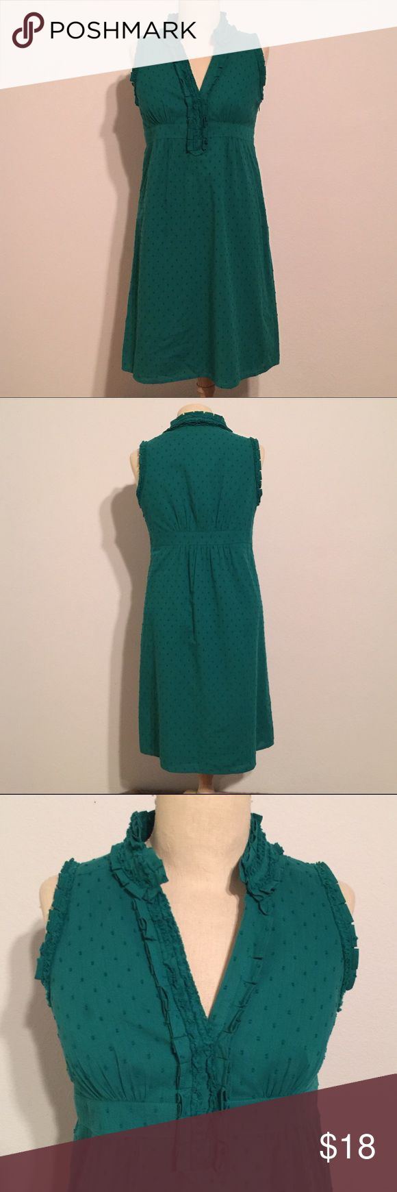 Ann Taylor Loft Sweet Green Cotton Dress 2P Petite and sweet! Very cute and lightweight green dress! Perfect for upcoming spring and summer. Gently used condition. Zip side. LOFT Dresses