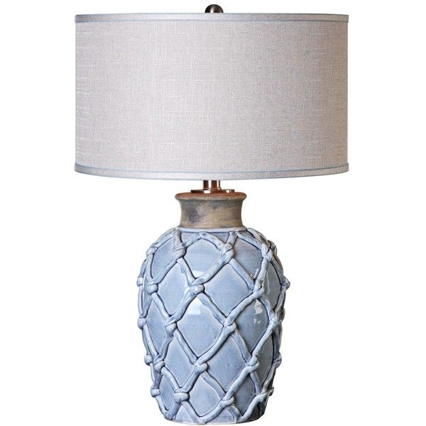Uttermost Parterre Hammock Pale Blue Ceramic Table Lamp ($262) ❤ liked on Polyvore featuring home, lighting, table lamps, blue, reading table lamps, uttermost table lamps, light blue table lamp, uttermost lighting and light blue shade