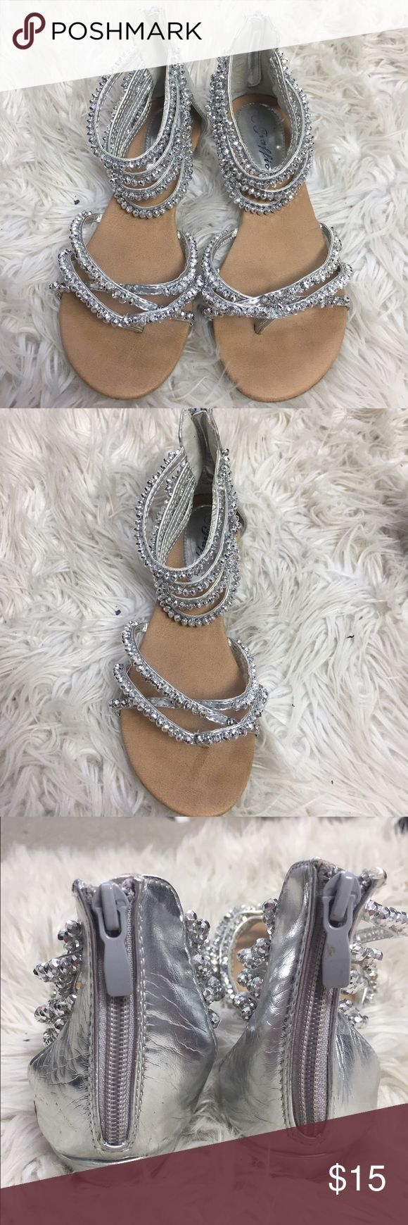 Silver rhinestone sandals worn ONLY ONCE Wore these for prom, super comfortable and received a lot of compliments on them! Traffic Shoes Sandals