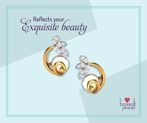 A unique design of diamonds, gold and pearl will definitely make you swirl. #Diamond #Gold #Earrings #Jewelry