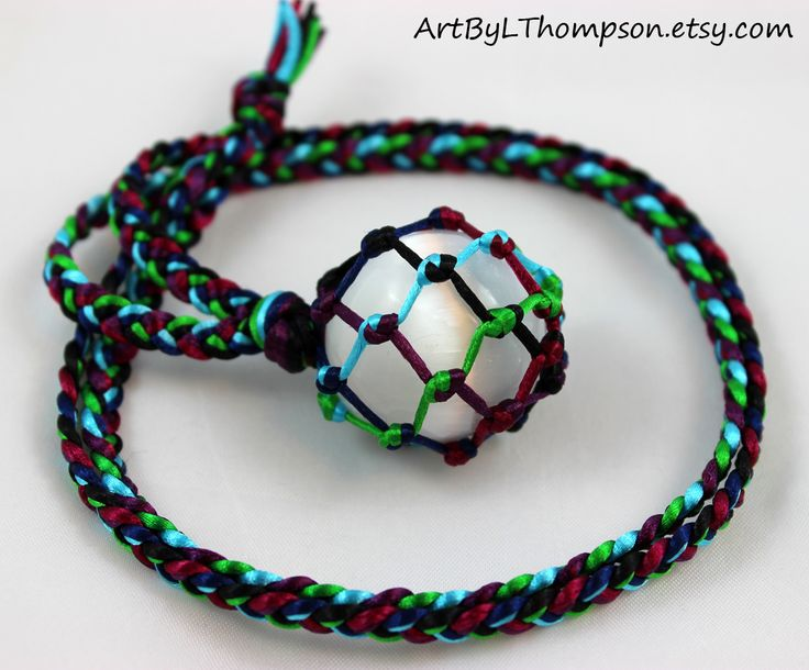 Original art by L. Thompson Six Color Satin Cord Wrapped Selenite Crystal Ball Tumble Healing Necklace - 6 Pointed Star