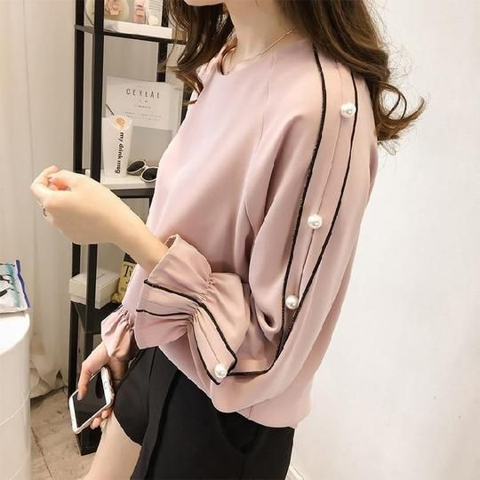 Plus Size 4XL Chiffon Blouse Women Loose Shirts Casual Flare Sleeve Pearlrricdress