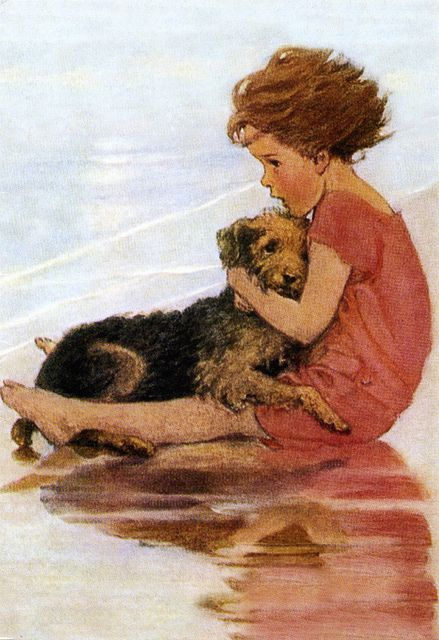 Airedale with girl by Jessie Willcox Smith from her book, A Very Little Child's Book of Stories.  At http://www.flickr.com/photos/totally_vintage/7563710152/#