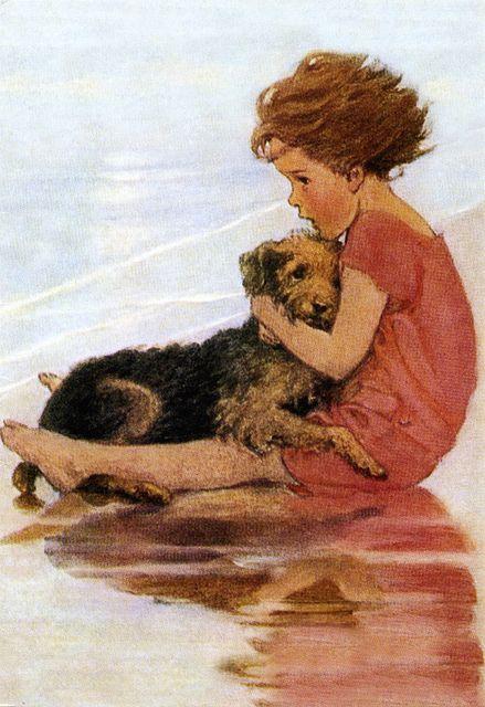 Niña abrazada a perro.