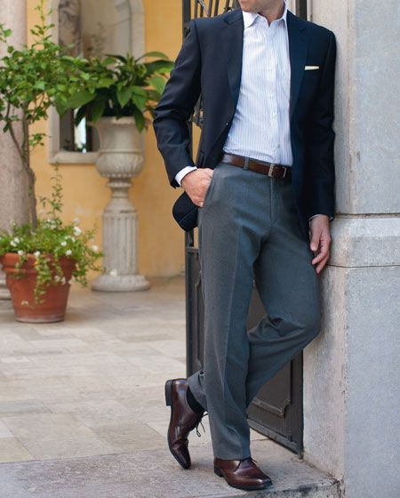 Get The Look: Navy Blazer - White Shirt - Grey Trousers - Brown Shoes - #navyblazer #afcountryattire #gentlemansstyle #mensfashion #getthelook