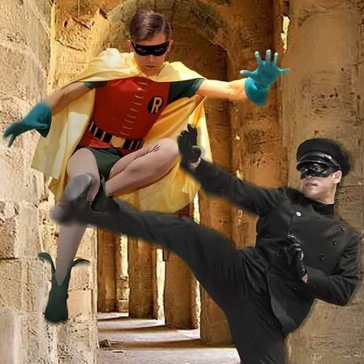 Batman and the Green Hornet! Robin with Kato (Bruce Lee)