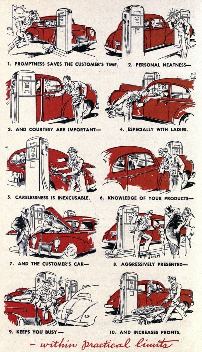 Some Vintage Full Service Gas Station Tips For Attendants And It S So Obviously Advice From Another Era 1944 Retro Gtation Fullservice