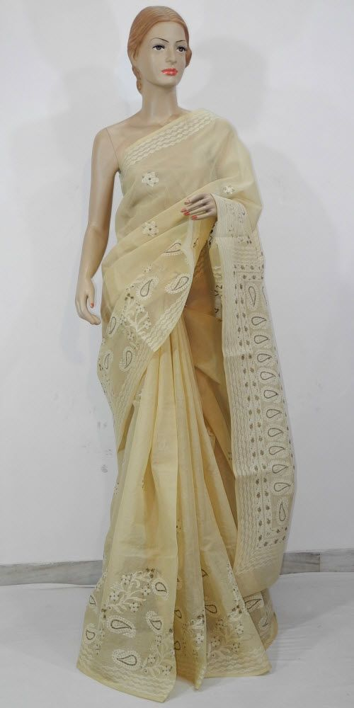 Lucknowi Chikan Saree (W/B-Cotton) 11733
