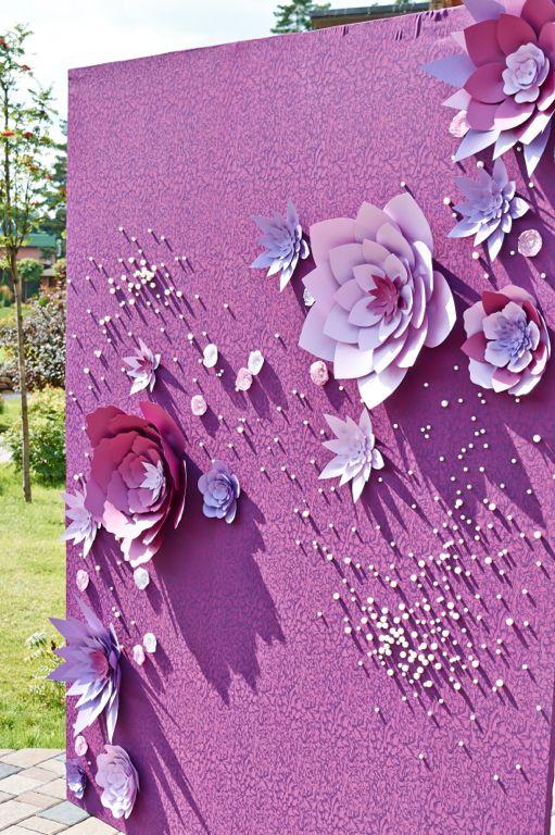 Фотозона из бумажных цветов оригинальное решение для торжественных фотосессий. ( Бумажный декор ) Paper Flower Backdrop, purple