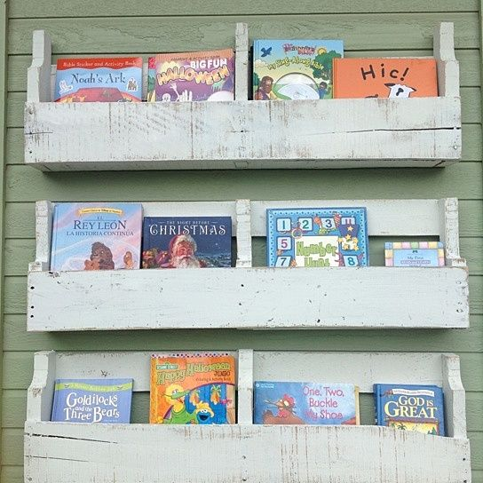 Pallet shelves ( white distressed ) from (del)HutsonDesigns on OpenSky