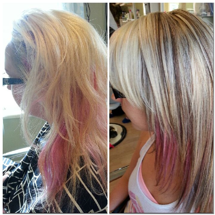 color and haircut adjustment big time! before and after. cool blonde highlights with lowlight foil partial foil goldwell