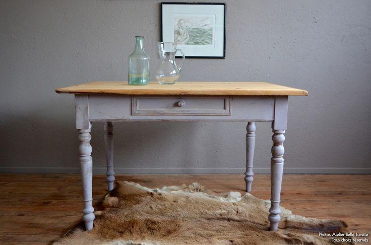 Table bohème bureau table de ferme patine shabby chic rustique piétement tourné plateau brut wabi sabi années 50 vintage rétro
