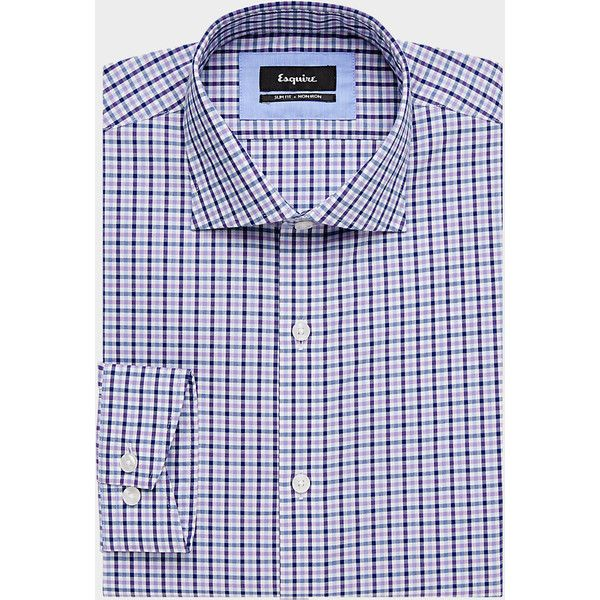 Esquire Navy & Purple Slim Fit Dress Shirt - Men's Slim Fit | Men's... (€73) ❤ liked on Polyvore featuring men's fashion, men's clothing, men's shirts, men's dress shirts, mens navy shirt, mens navy blue shirt, mens dress shirts, mens purple shirt and mens slim fit shirts