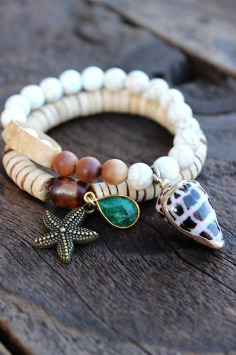 24k Gold Edged Seashell Cone Bracelet Boho by WildPeopleFreeSpirit