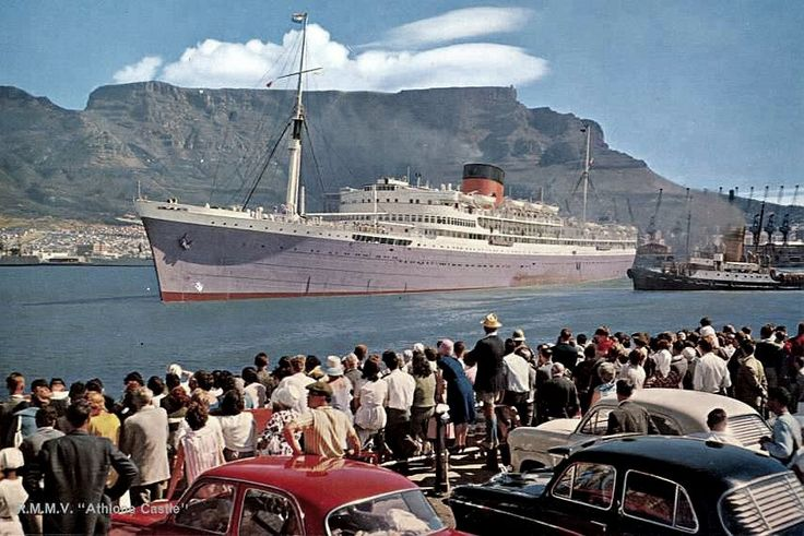 "https://flic.kr/p/2Dx9KL | One of them was the Athlone Castle departing Cape Town.......1962 | Postcard of the ""Mailship"" leaving the docks for the U. K.......... Sadly a scene we see no more!"