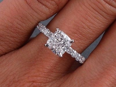 1.28 CARATS CT TW CUSHION CUT DIAMOND ENGAGEMENT RING D SI2 in Jewelry & Watches, Engagement & Wedding, Engagement Rings | eBay