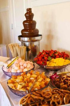 Will have something like this on the dessert bar to go with chocolate fountain : chocolate fountain table set up - pezcame.com