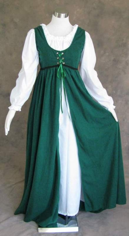 Renaissance Ren Faire Medieval Gown Dress and Chemise LOTR SCA Costume GREEN 4X | eBay