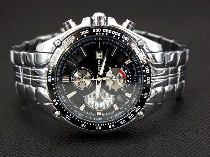 Silver & Black Fashion Sport Men'S Stainless Steel Quartz Analog Wrist Watch Gif