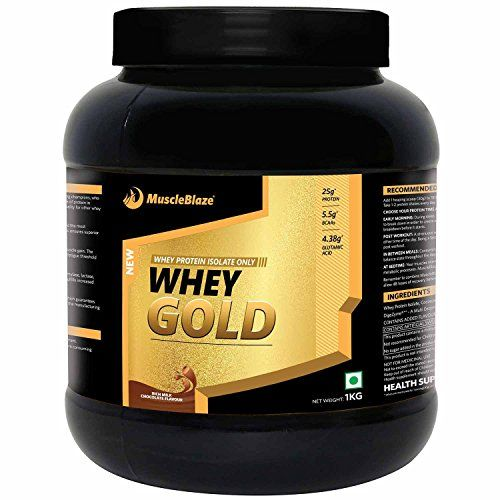 A 30g scoop of MuscleBlaze Whey Gold serves 25g pure protein from Whey Protein Isolate 100% Whey Protein Isolate is the only source of protein in MuscleBlaze Whey Gold 1.83g carbs and 0.