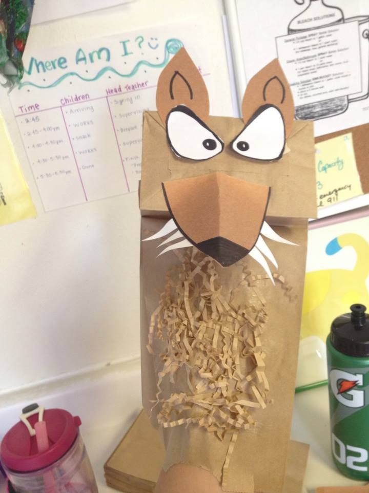 Big Bad Wolf paper bag preschool craft