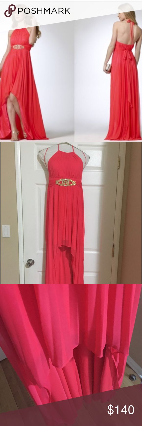 Cache Pleated High Low Hem Coral Gown Dress Coral halter gown from Cache. High hem at the front with low long hem at the back. Beaded gold belt at the waist. Few tiny pin snags as seen in the last two images. Not highly visible. Good condition dress. Worn once. Dry cleaned. Cache Dresses High Low