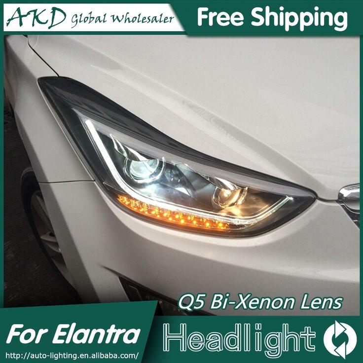 477.75$  Buy here - http://alijx6.worldwells.pw/go.php?t=32533501825 - AKD Car Styling for Hyundai Elantra Headlights New Elantra MD LED Headlight DRL Q5 Bi Xenon Lens High Low Beam Parking Fog Lamp