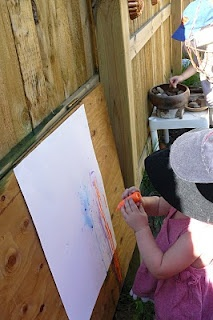 Outdoor easel!  All three kids would love this!