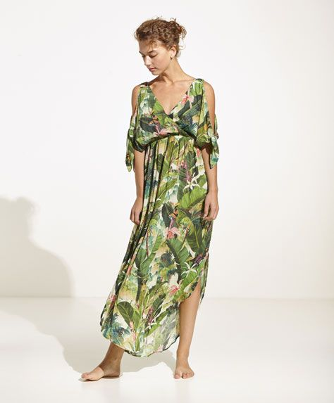 Oysho - Asymmetrische jurk met tropical print