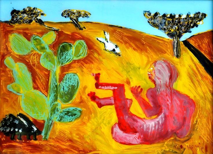 Nicolaas Maritz, NAMIBIAN DUNE NUDE, enamel paint on glass