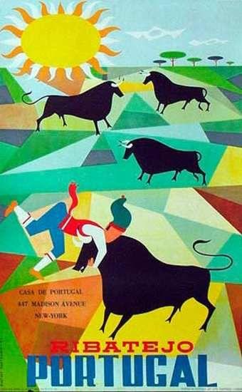 DP Vintage Posters - Ribatejo Bulls Portugal Original Vintage Travel Poster
