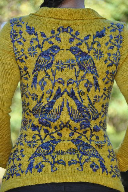 Jettshin's stranded cardigan version of the Nightingale sock pattern by Vintage Purls