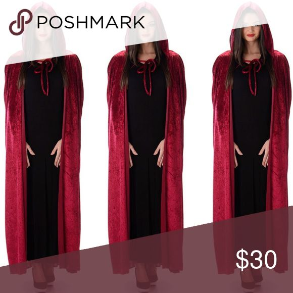 Red Velvet Hooded Cape with Tie ☠️MAKE ME AN OFFER☠️ • Dark Red Velvet hood Halloween Cape • tie around throat • worn last year for about an hour trick or treating w my son (ipso facto, I didn't get crazy in this piece at a party) • kept me cozy and comfortable • ONE SIZE • Accessories