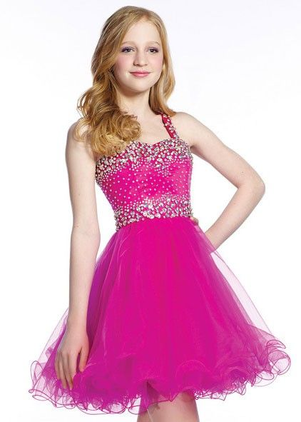 Lexie by Mon Cheri TW21539 Girls Pink Beaded Party Dress, Bat ...