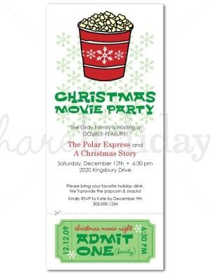 2nd annual James+Connie Christmas movie party. Maybe a formal invite this time? Christmas Movie Party Invitation | Christmas Invitations