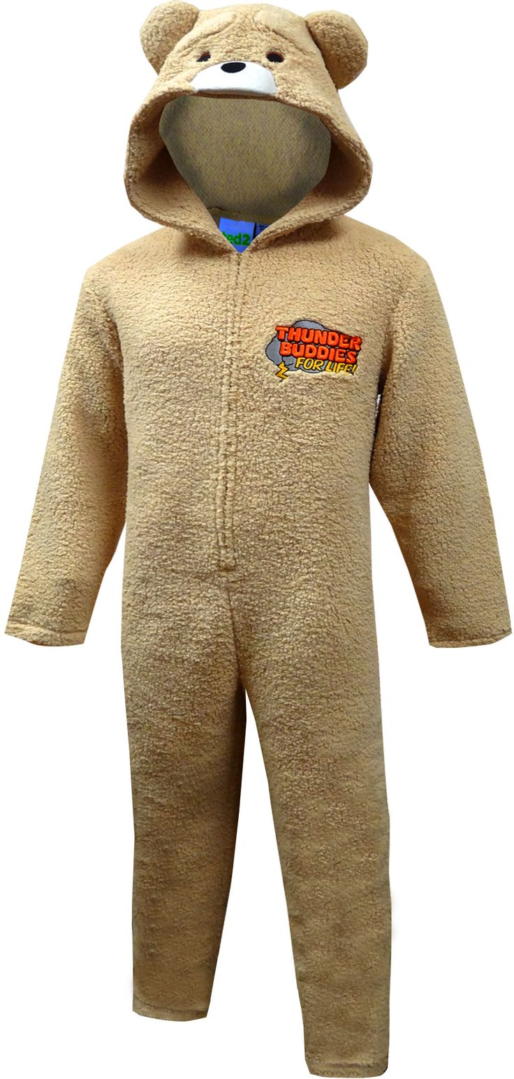 Thunder Buddies for life! Fans of the Ted movies will totally understand what that means. This onesie for men is made of plush, soft fabric and is made to look like the worst-behaved teddy bear ever! The hood has an adorable 3D face with puffy ears and mouth. These onesie pajamas have open cuffs at the wrist and ankles. Machine washable and easy care. Large fits 5'8