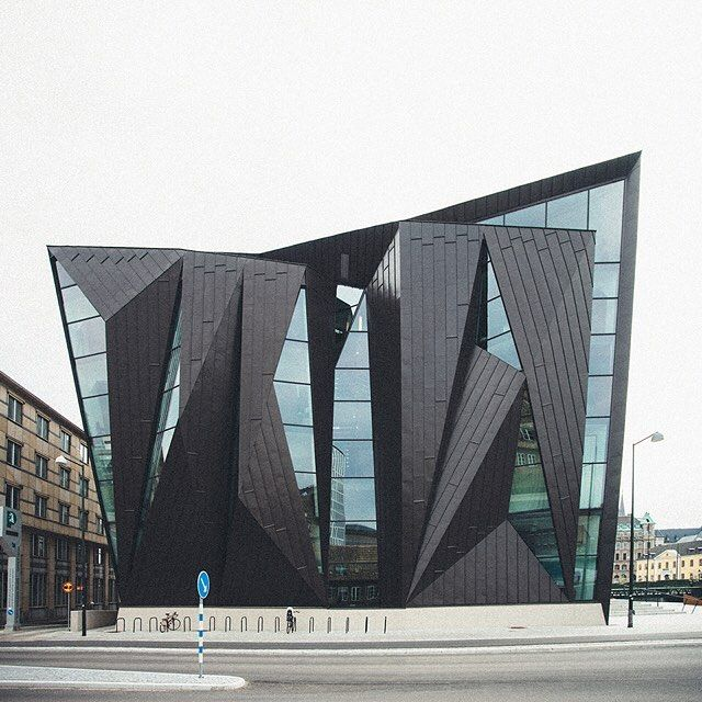 danish photographer kim høltermand has captured the faceted façade of the extension of the maritime university in malmö designed by terroir and kim utzon arkitekter.