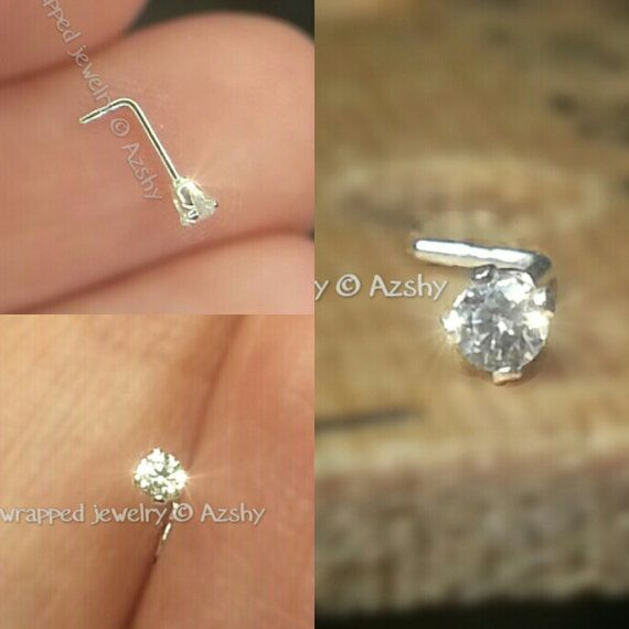 Nose Ring Stud Post  2mm SWAROVSKI Crystal w/ by WireWrappedDesign, $21.95