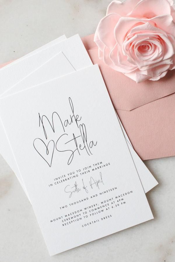 Wedding Invitation – All My Heart | Miss Poppy Design | Modern Wedding Stationer…