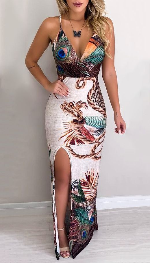 Peacock Feather Print Thigh Slit Slip Dress